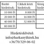 hirdetés árak