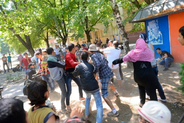Migránsok dulakodnak a szerbiai Magyarkanizsa központjában. Fotó: Molnár Edvárd, MTI