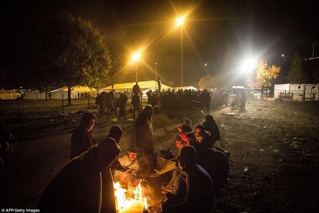 A szlovén menekülttábor. Fotó: AFP