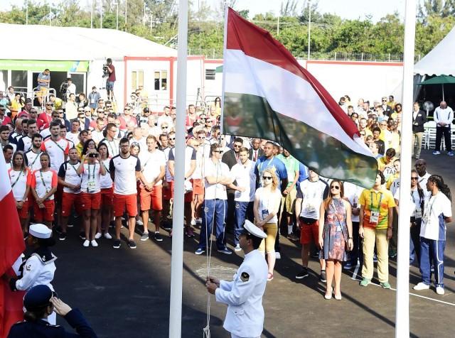 A magyar csapat hivatalos fogadóünnepsége a Rio de Janeiró-i olimpiai faluban. Fotó: Kovács Tamás, MTI