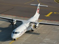 Cimber AIR OY-CIN (ATR 72-500) taxiing at EKRN (Bornholm airport)