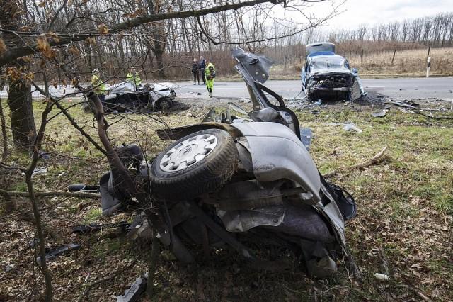 Halálos baleset Bagod közelében.Fotó: Varga György, MTI
