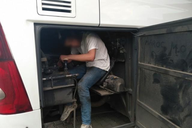 A busz motorterében találtak egy migránst Beremendnél